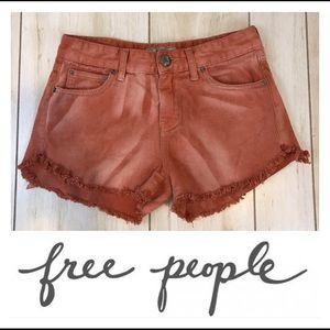 Free People Burnt Orange Cutoff Denim Shorts